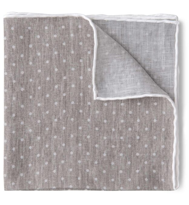 Taupe and White Dot Print Linen Pocket Square