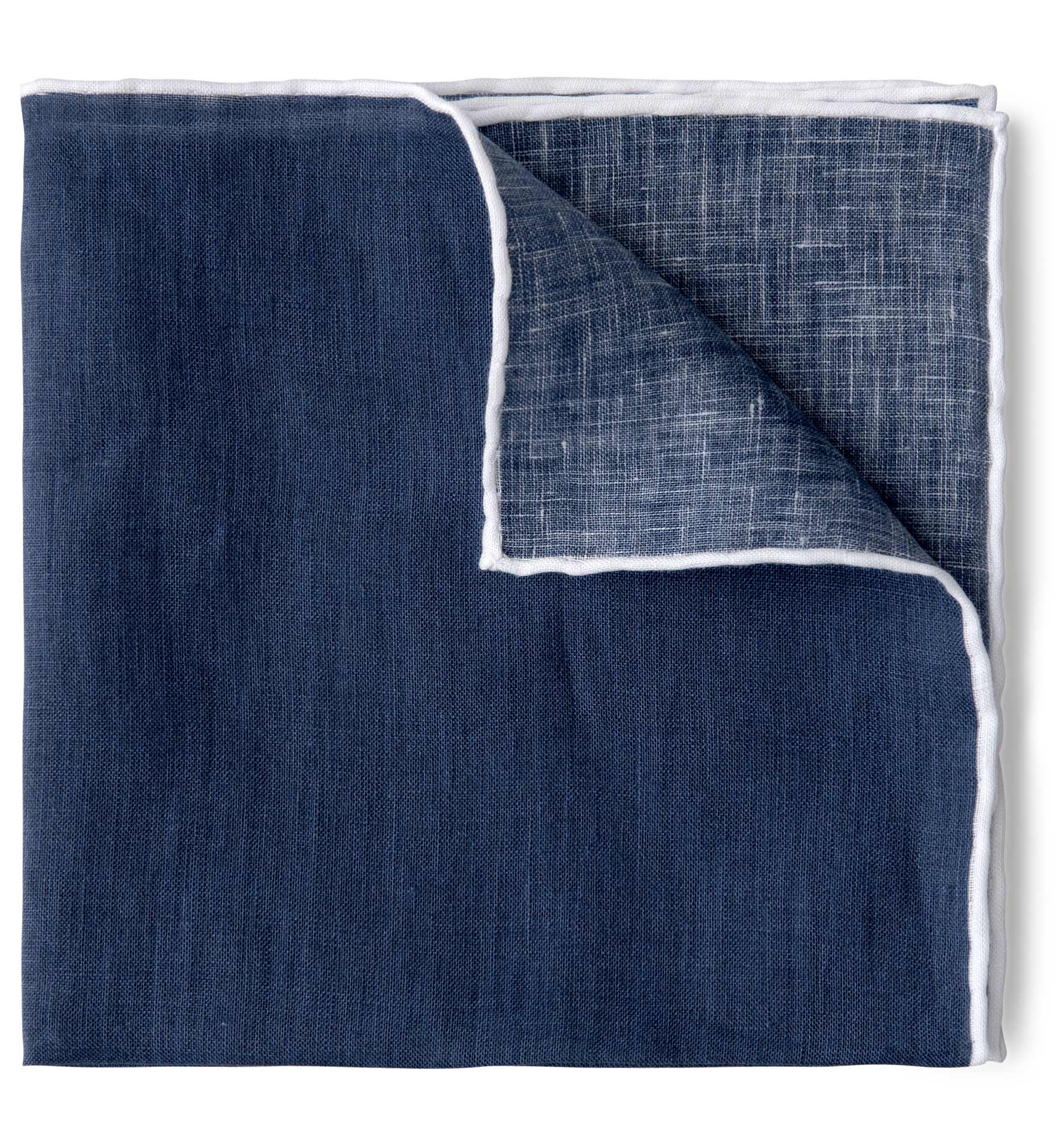 Zoom Image of Faded Navy with White Tipping Linen Pocket Square
