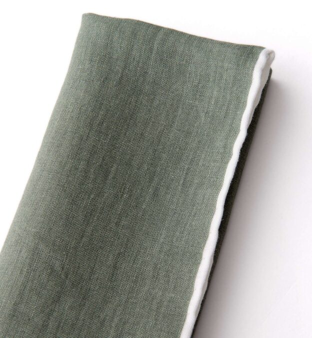 Sage with White Tipping Linen Pocket Square