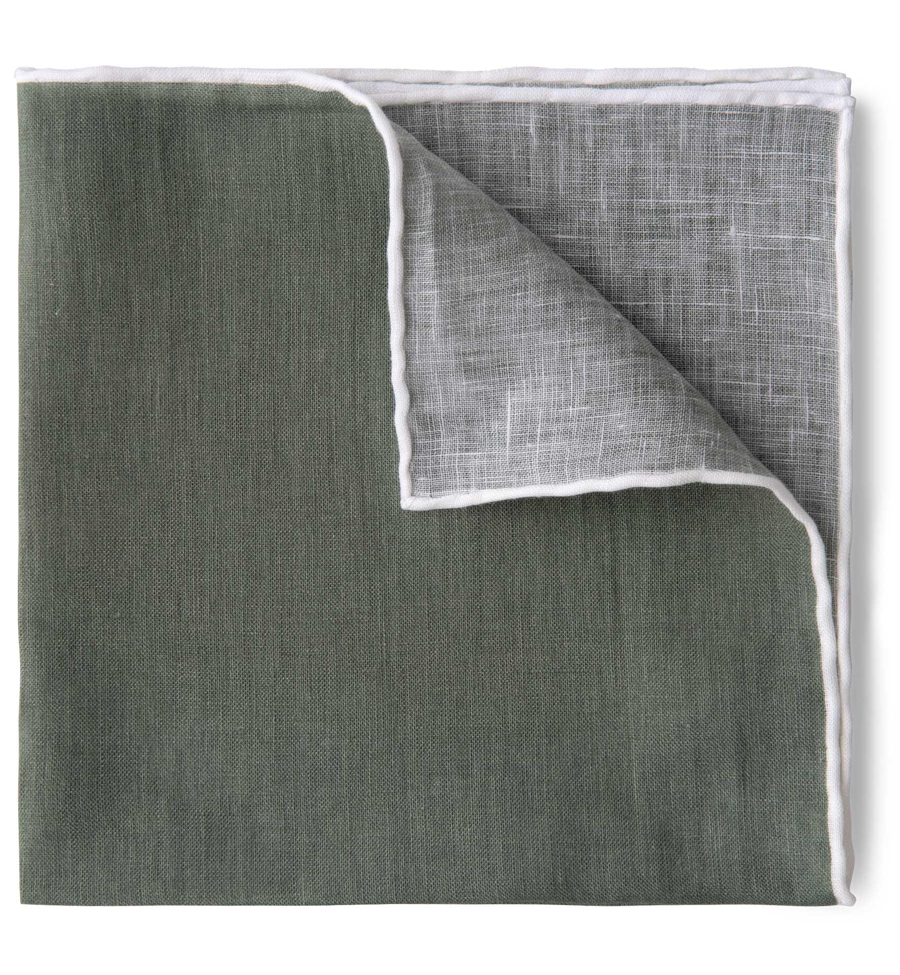 Zoom Image of Sage with White Tipping Linen Pocket Square