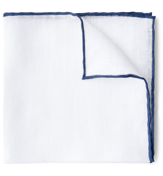 White with Navy Tipping Linen Pocket Square