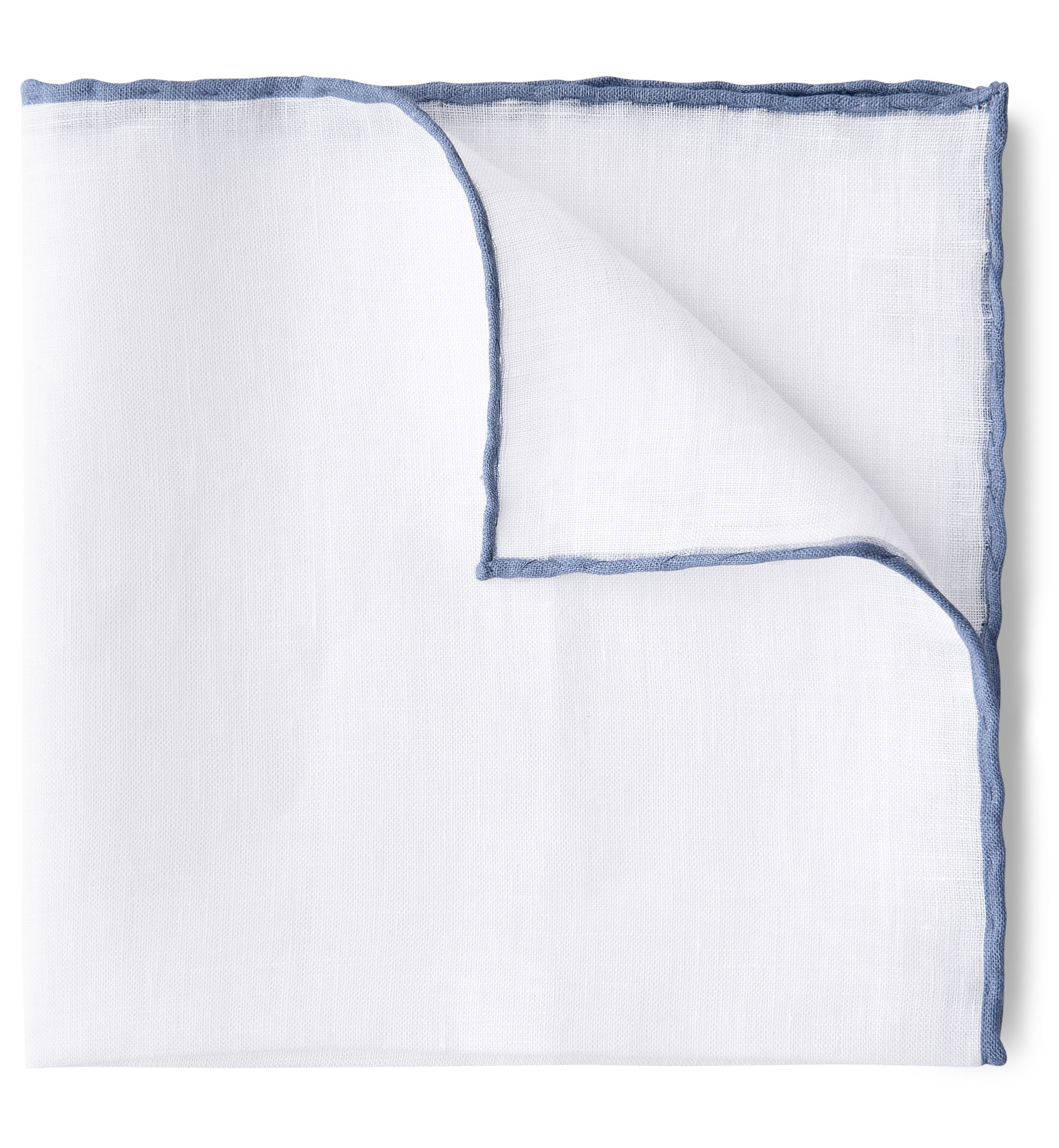 Zoom Image of White with Light Blue Tipping Linen Pocket Square