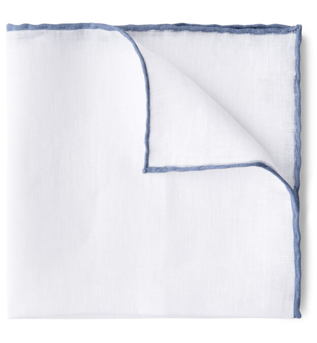 White with Light Blue Tipping Linen Pocket Square