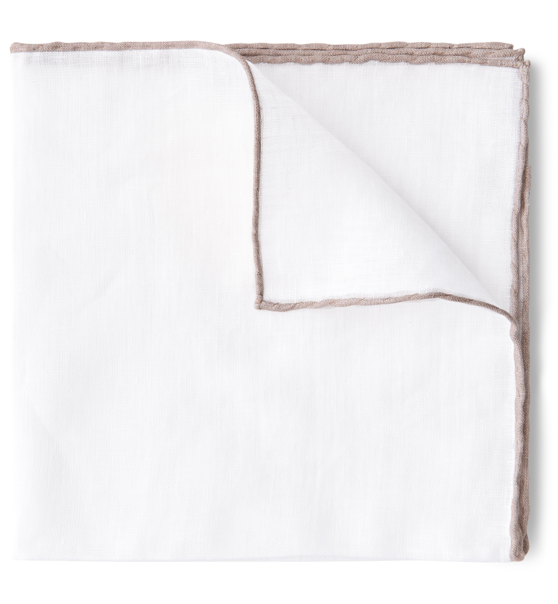 Zoom Image of White with Sand Tipping Linen Pocket Square