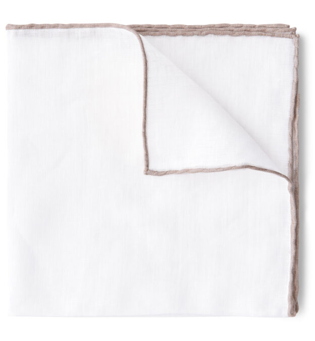 White with Sand Tipping Linen Pocket Square