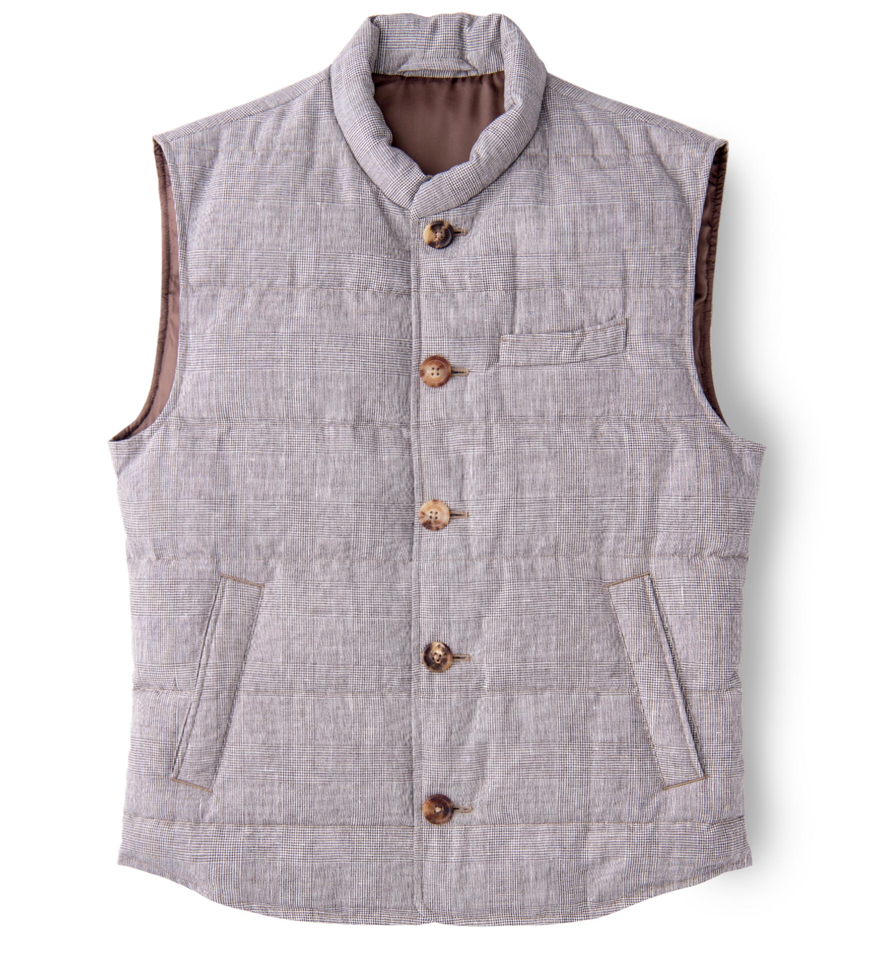 Zoom Image of Cortina Beige Glen Plaid Wool and Linen Button Vest
