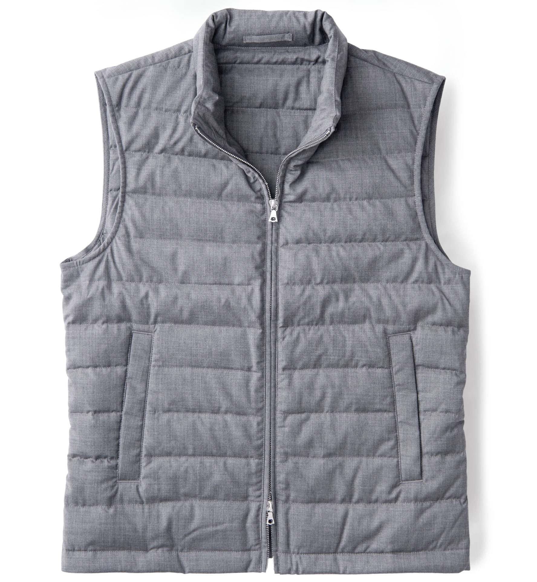Zoom Image of Brera Grey Merino Wool Zip Vest