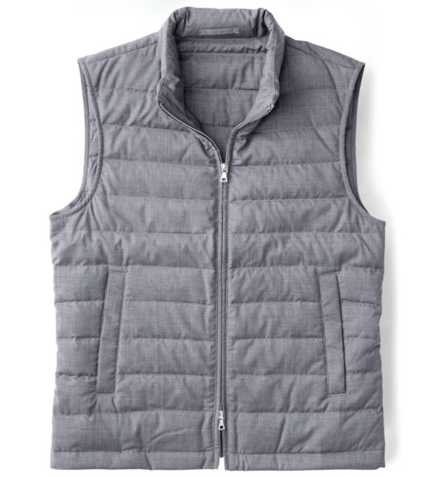 Brera Grey Merino Wool Zip Vest