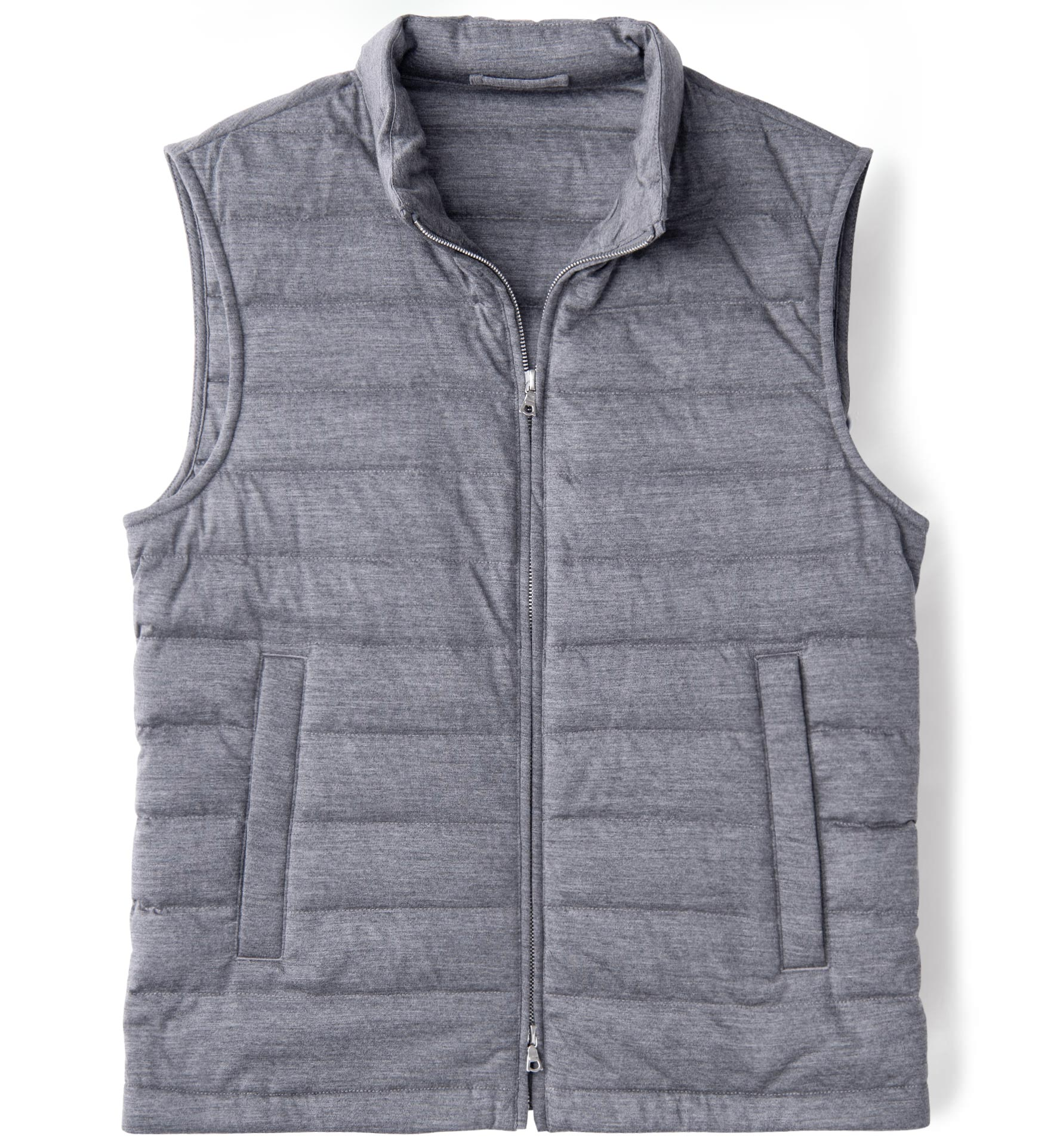 Zoom Image of Brera Grey Knit Merino Wool Zip Vest