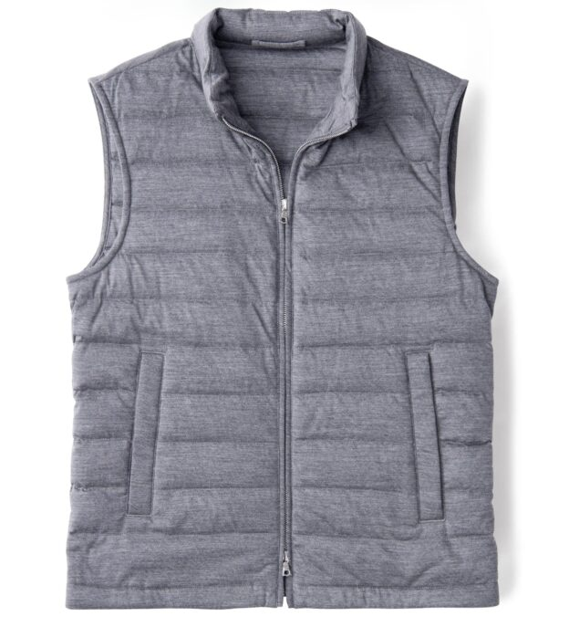Brera Grey Knit Merino Wool Zip Vest