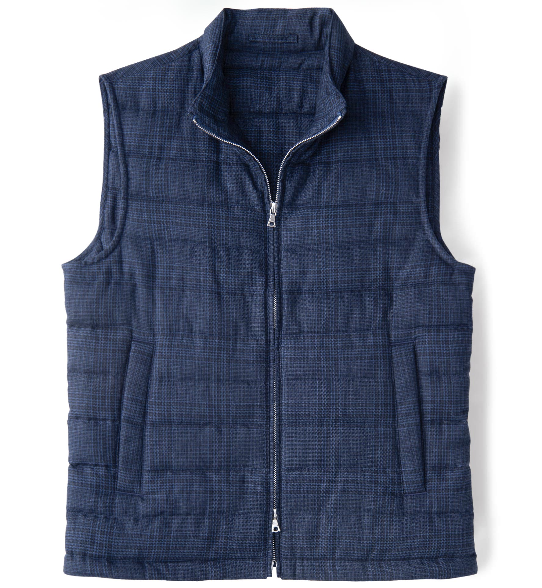 Zoom Image of Brera Navy Glen Plaid Cotton and Linen Zip Vest