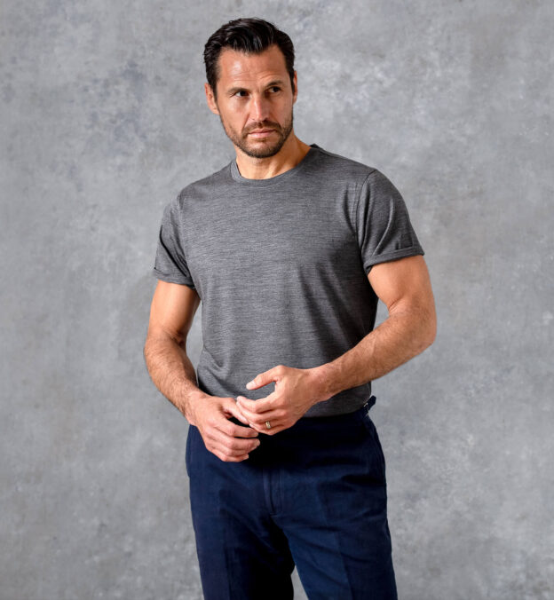 Grey Merino Wool Crewneck T-Shirt