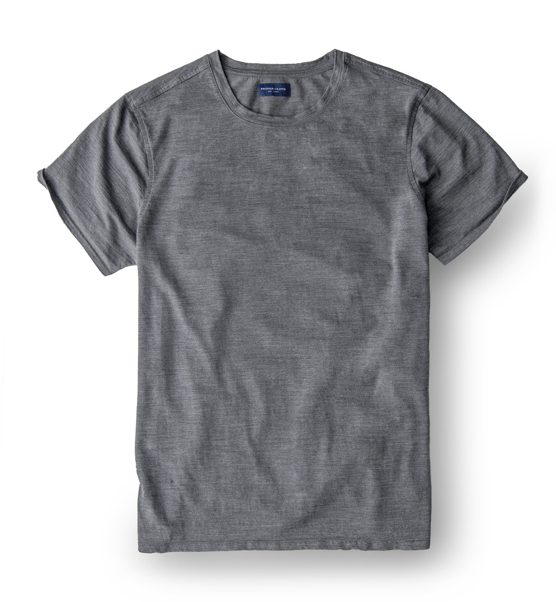 Zoom Image of Grey Merino Wool Crewneck T-Shirt