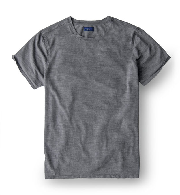 Grey Merino Wool Crewneck T-Shirt