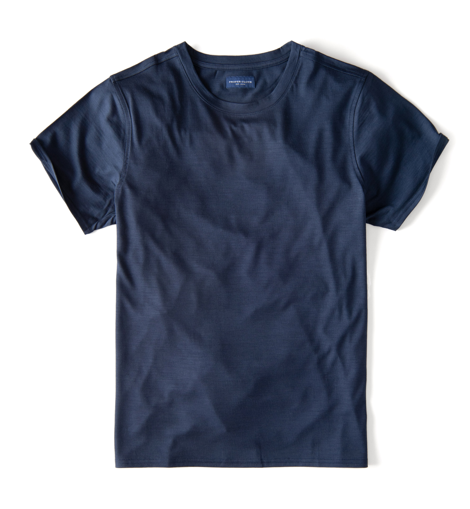 Zoom Image of Navy Merino Wool Crewneck T-Shirt