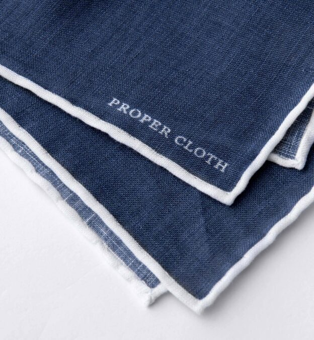 Faded Navy with White Tipping Linen Pocket Square