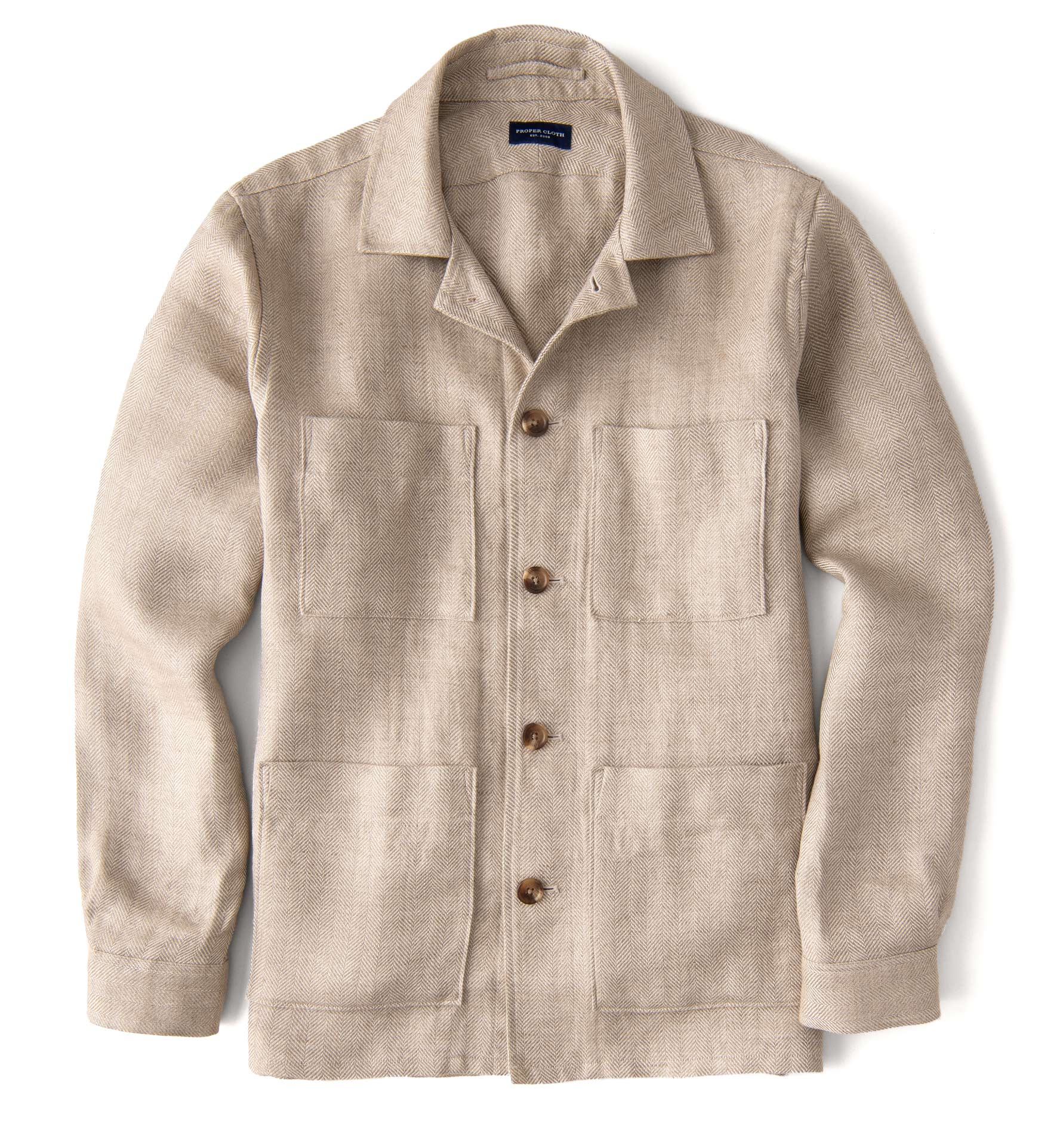 Zoom Image of Beige Herringbone Linen Shirt Jacket