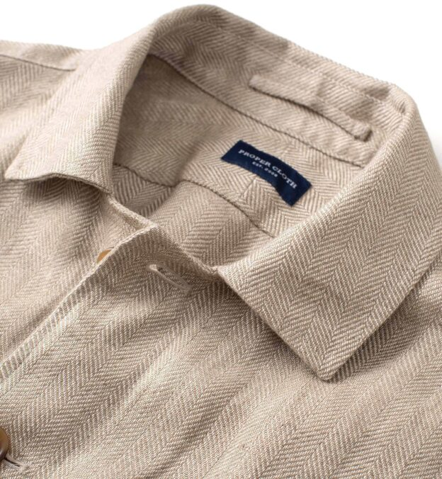 Beige Herringbone Linen Shirt Jacket