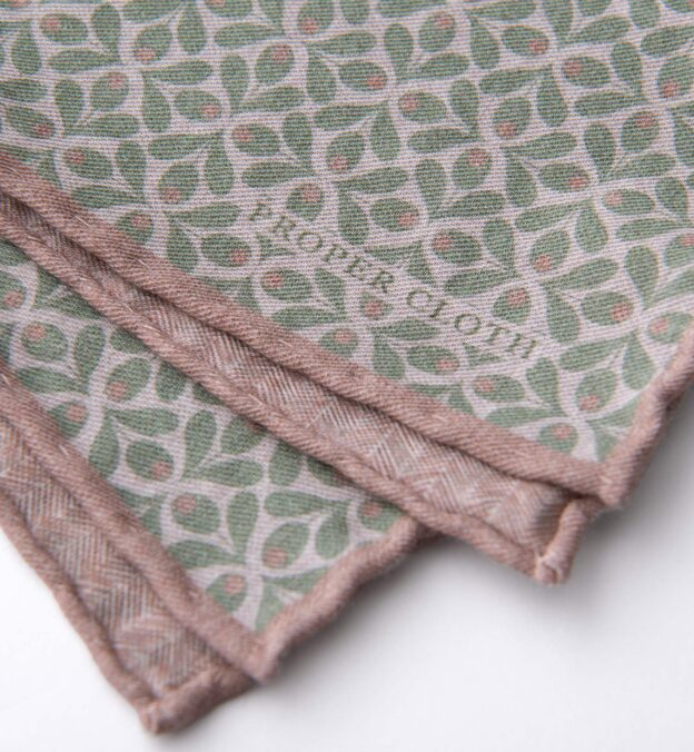 Sage and Sand Geometric Floral Print Pocket Square