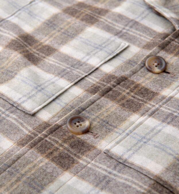 Brown and Grey Plaid Cashmere Blend Shirt Jacket
