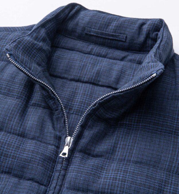 Brera Navy Glen Plaid Cotton and Linen Zip Vest