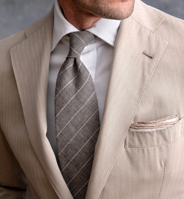 Taupe Pinstripe Linen Wool and Silk Tie