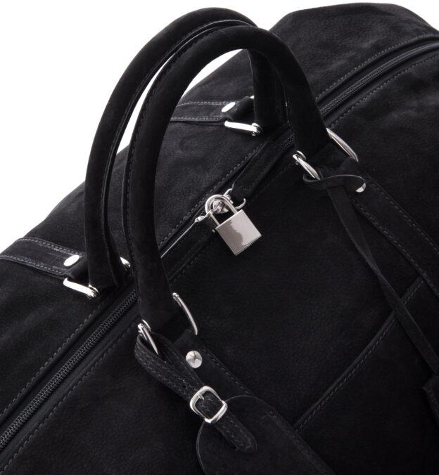 Italian Black Nubuck Duffle Bag