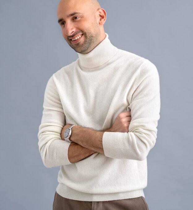 Off White Cashmere Turtleneck Sweater