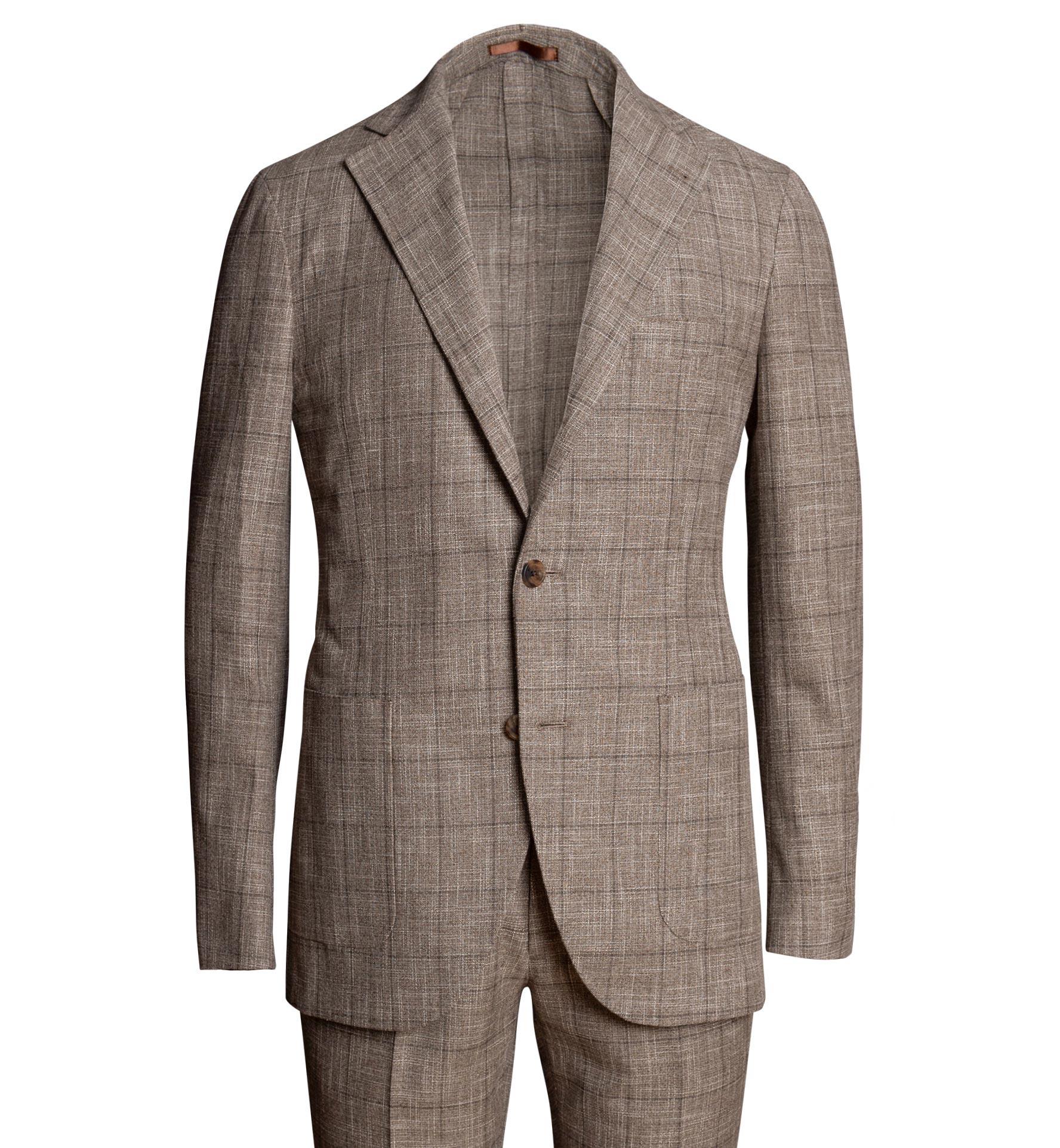Zoom Image of Waverly Mocha Windowpane Slub Wool Blend Suit