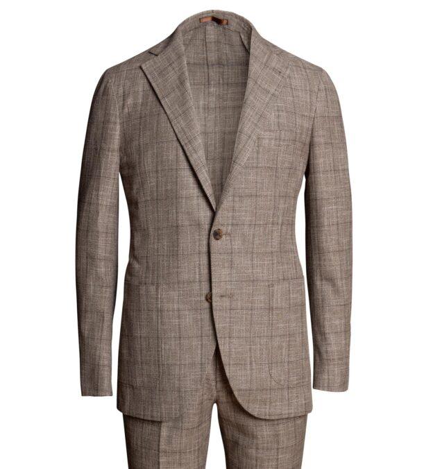 Waverly Mocha Windowpane Slub Wool Blend Suit
