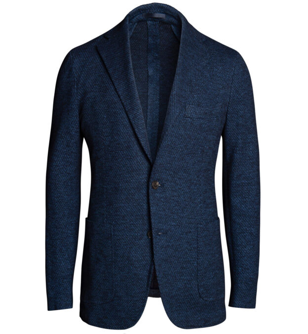 Waverly Navy Melange Cotton and Linen Knit Jacket