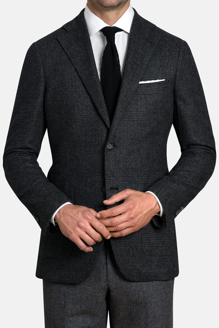 Bedford Grey Glen Plaid Wool and Cashmere Jacket