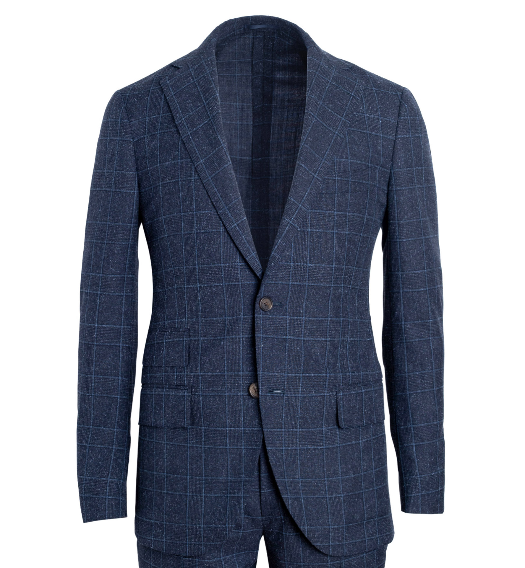 Zoom Image of Bedford Navy Glen Plaid Wool and Silk Suit Jacket