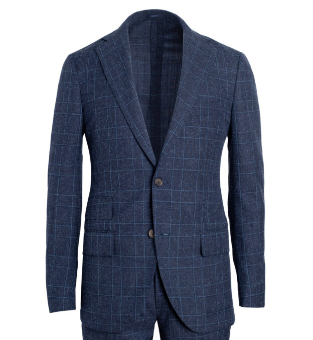 Bedford Navy Glen Plaid Wool and Silk Suit Jacket