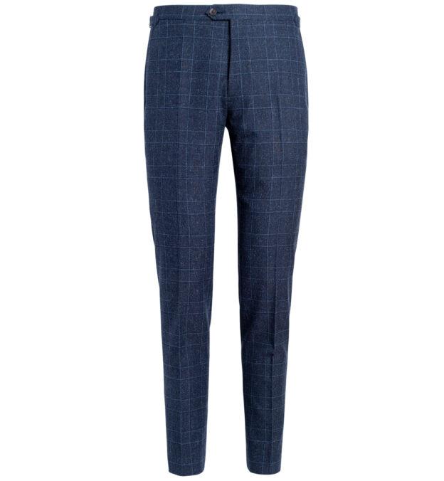 Allen Navy Glen Plaid Wool and Silk Trouser