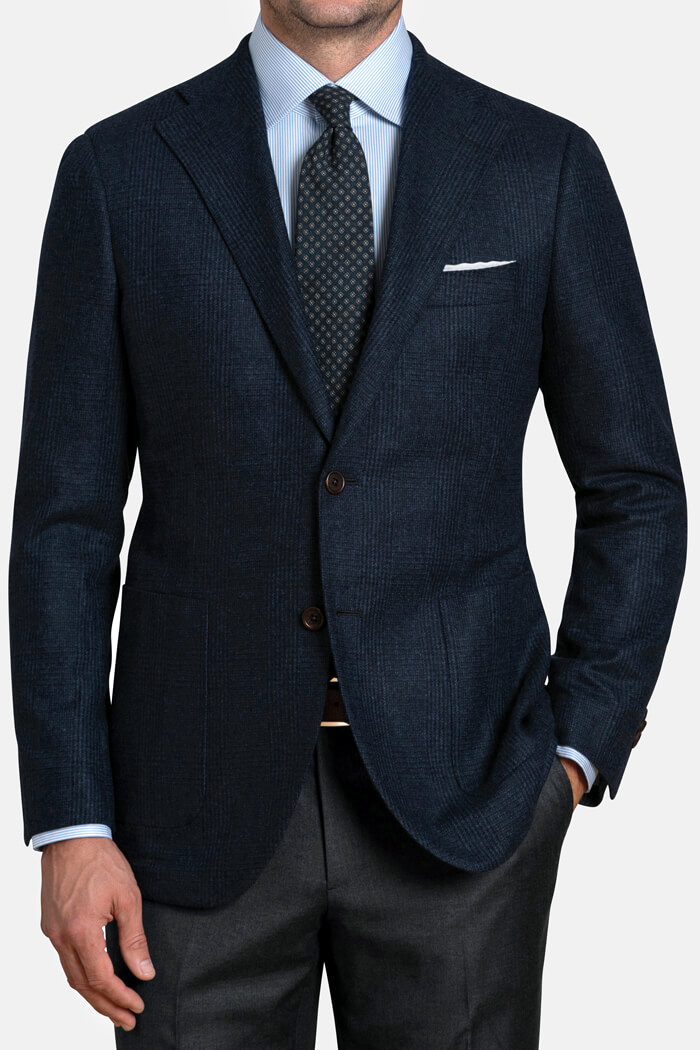 Bedford Navy Glen Plaid Wool and Cashmere Jacket