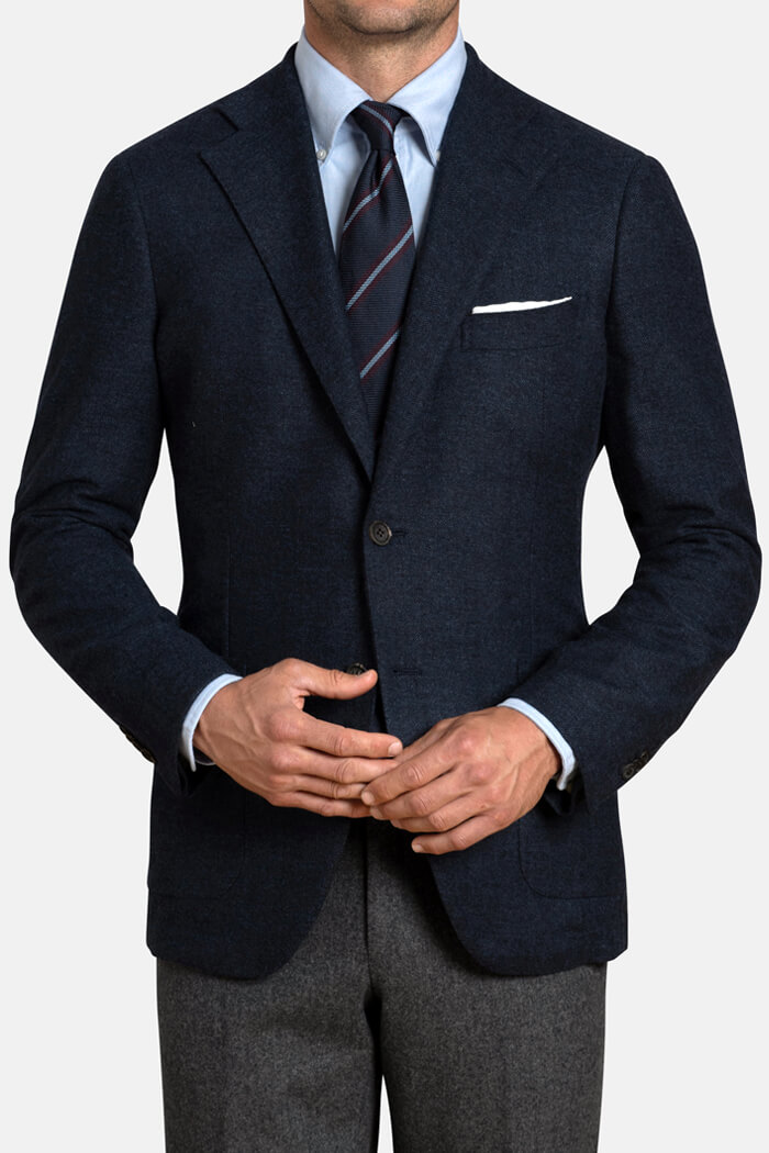 Bedford  Navy Blue Herringbone Wool and Cashmere Jacket