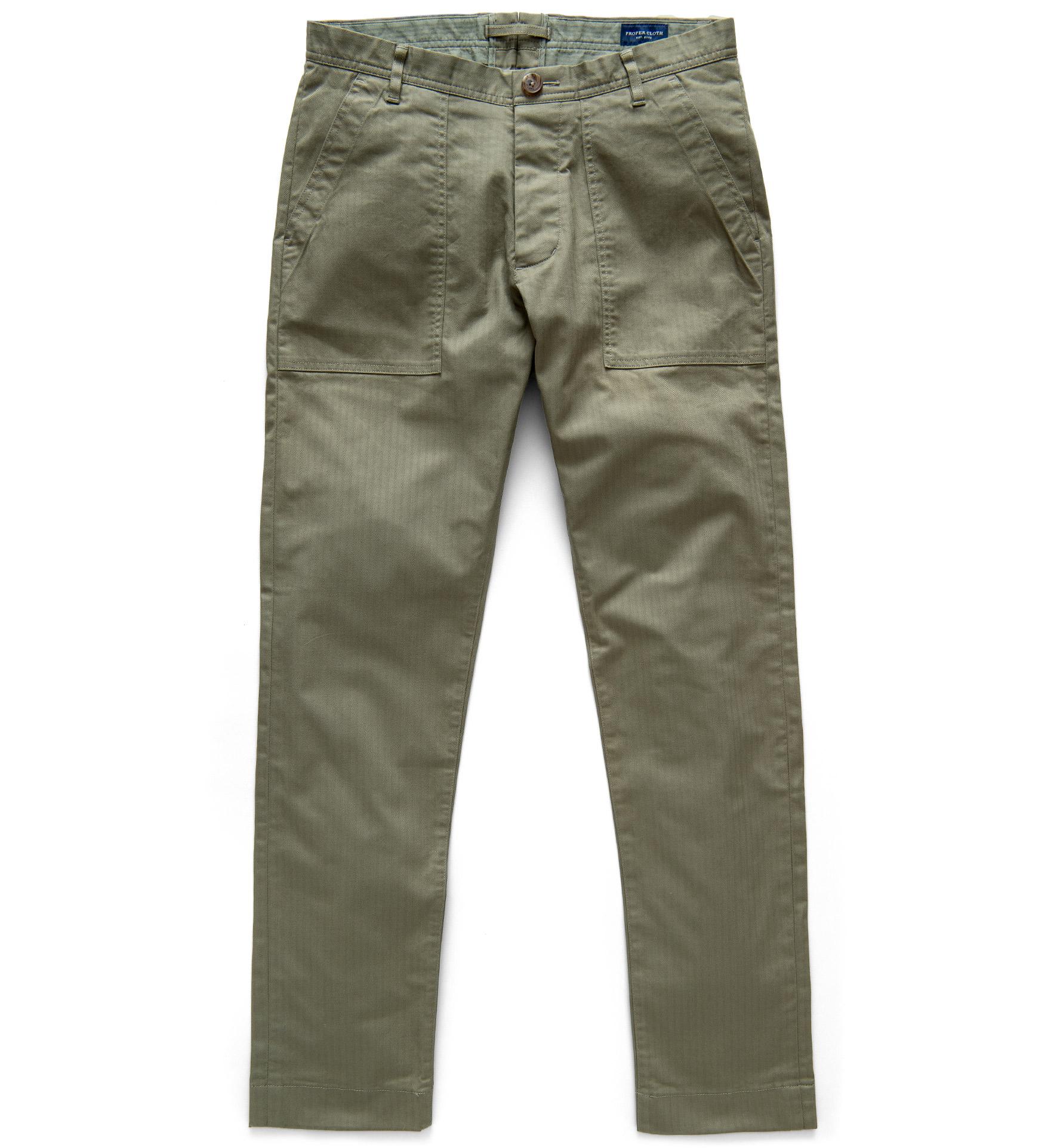 Zoom Image of Wythe Surplus Green Herringbone Fatigue Pant