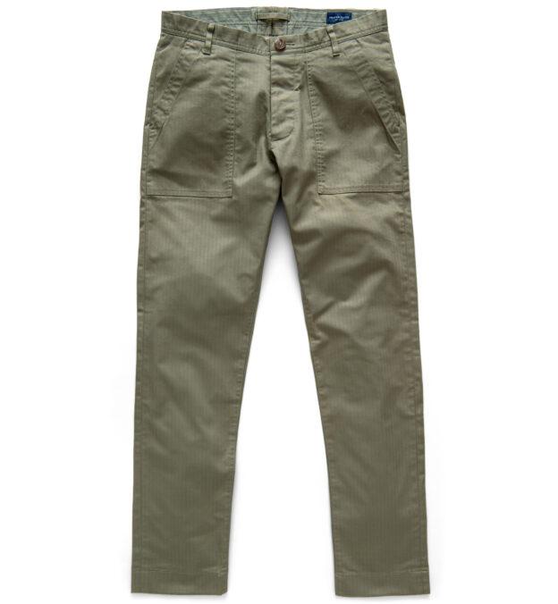 Wythe Surplus Green Herringbone Fatigue Pant