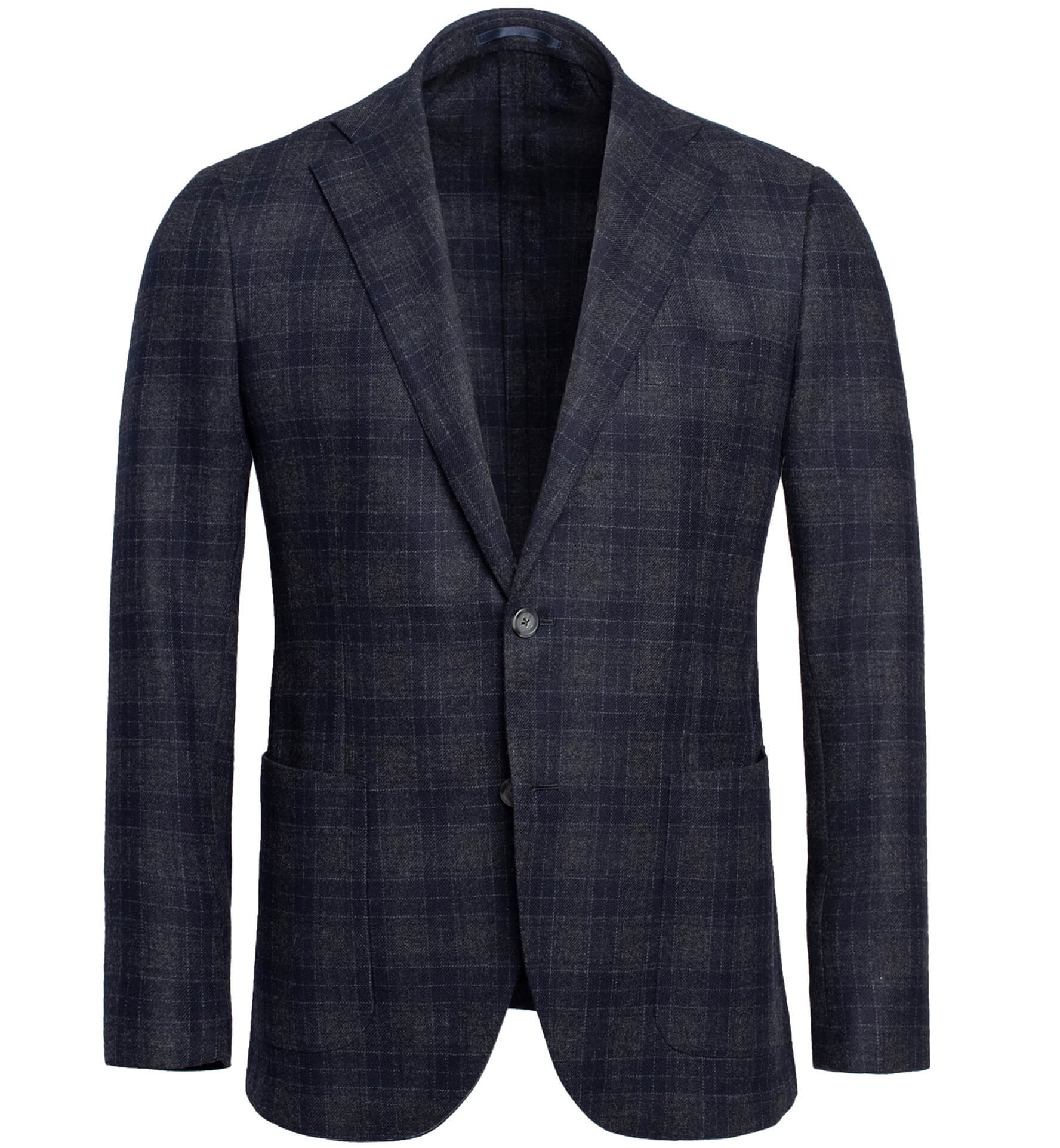 Zoom Image of Bedford Navy and Grey Plaid Wool and Cashmere Jacket