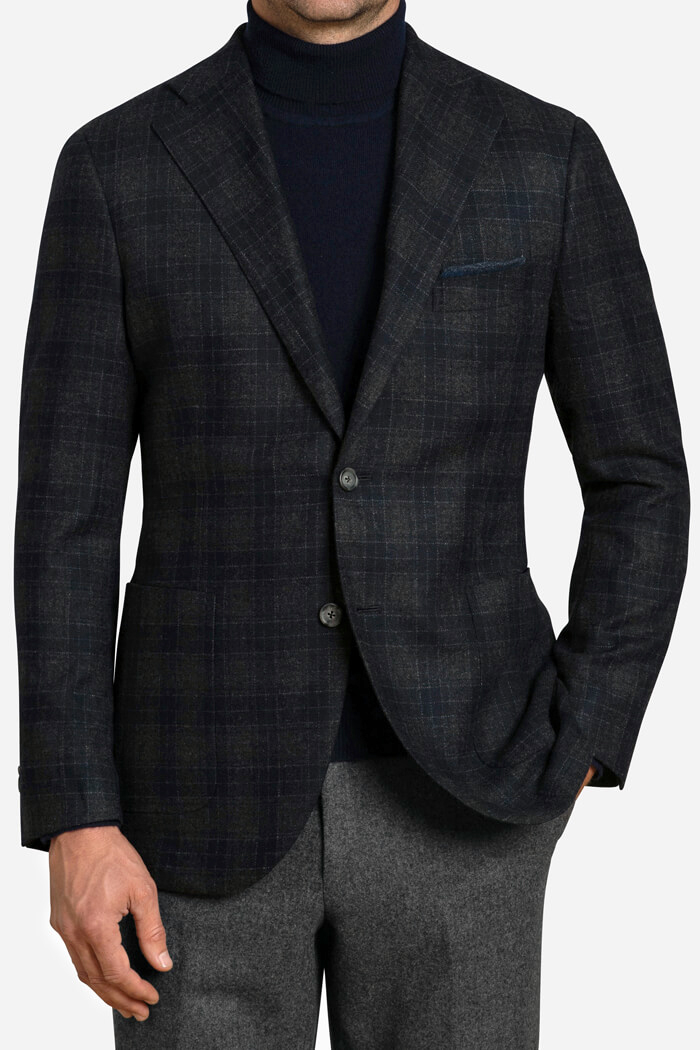 Bedford Navy and Grey Plaid Wool and Cashmere Jacket