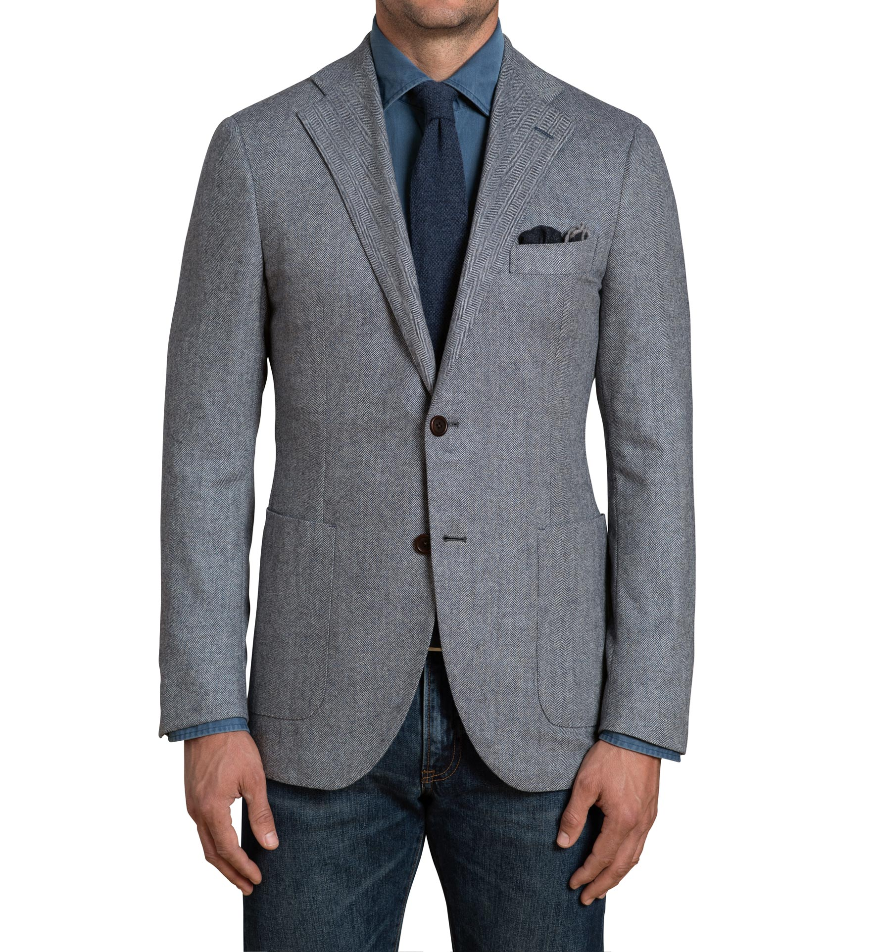 Zoom Image of Bedford Glacier Blue Herringbone Wool and Cashmere Jacket