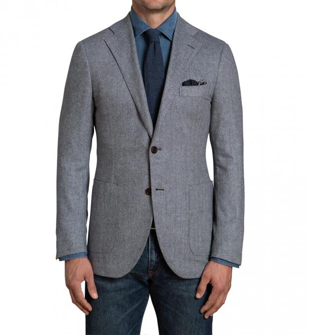 Bedford Glacier Blue Herringbone Wool and Cashmere Jacket