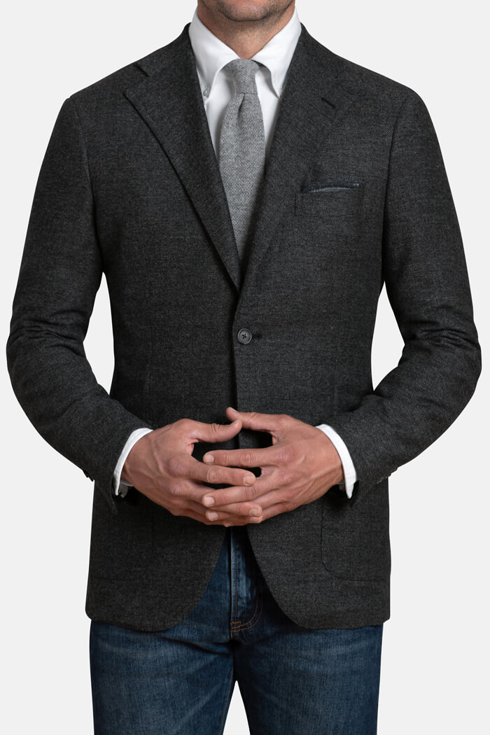 Bedford Grey Herringbone Wool and Cashmere Jacket