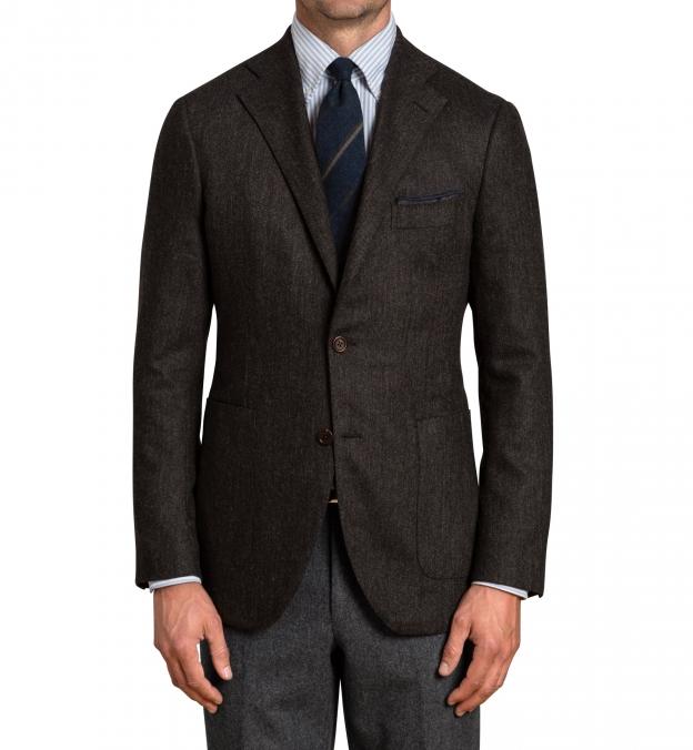 Bedford  Walnut Herringbone Wool and Cashmere Jacket