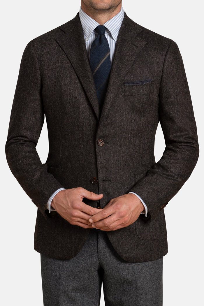 Bedford  Walnut Herringbone Wool and Cashmere Jacket