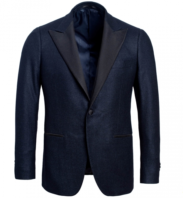 Mayfair Navy Wool Silk and Cashmere Flannel Dinner Jacket