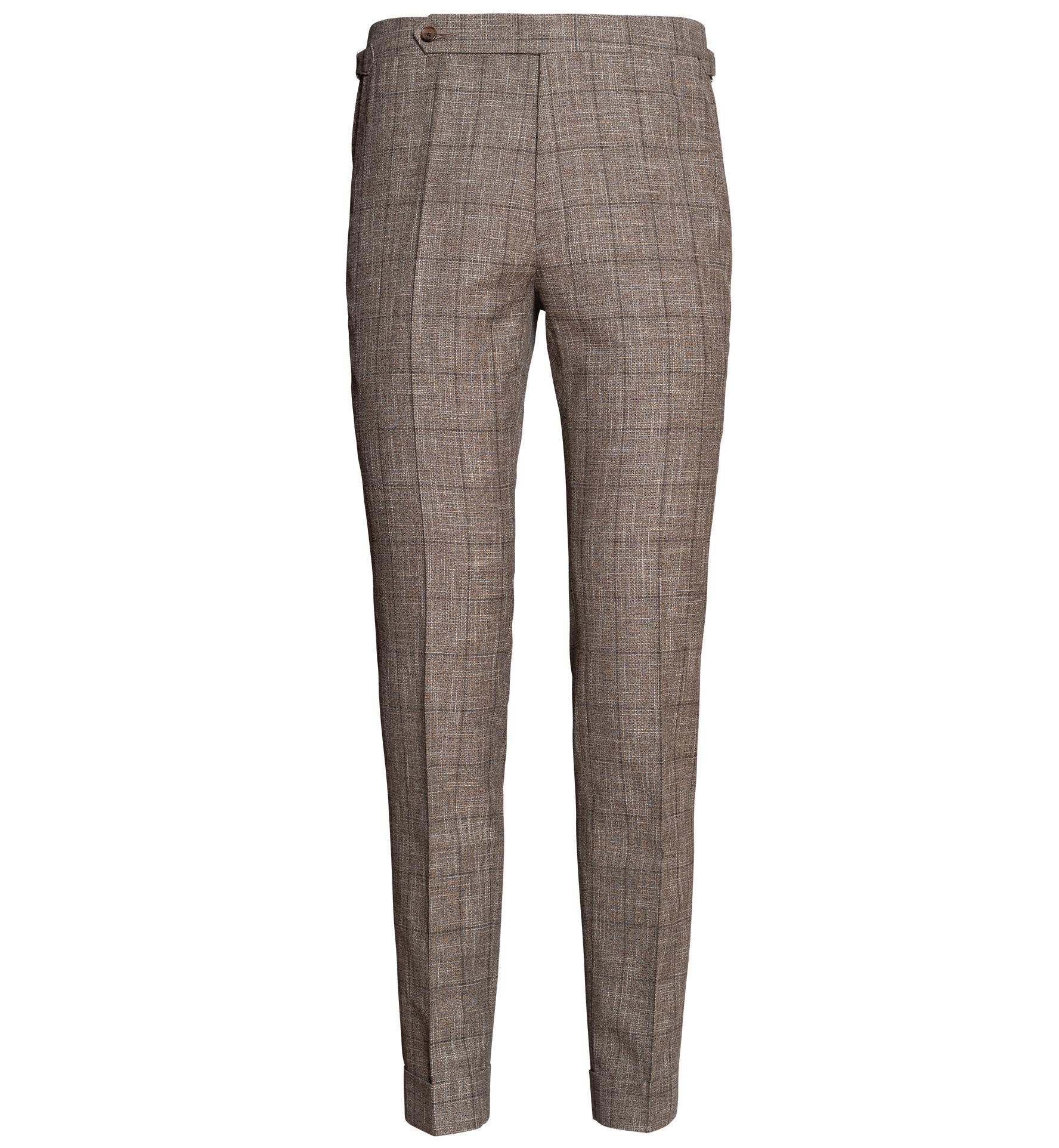 Zoom Image of Allen Mocha Windowpane Slub Wool Blend Trouser