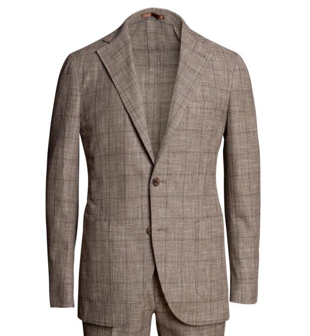 Waverly Mocha Windowpane Slub Wool Blend Suit Jacket