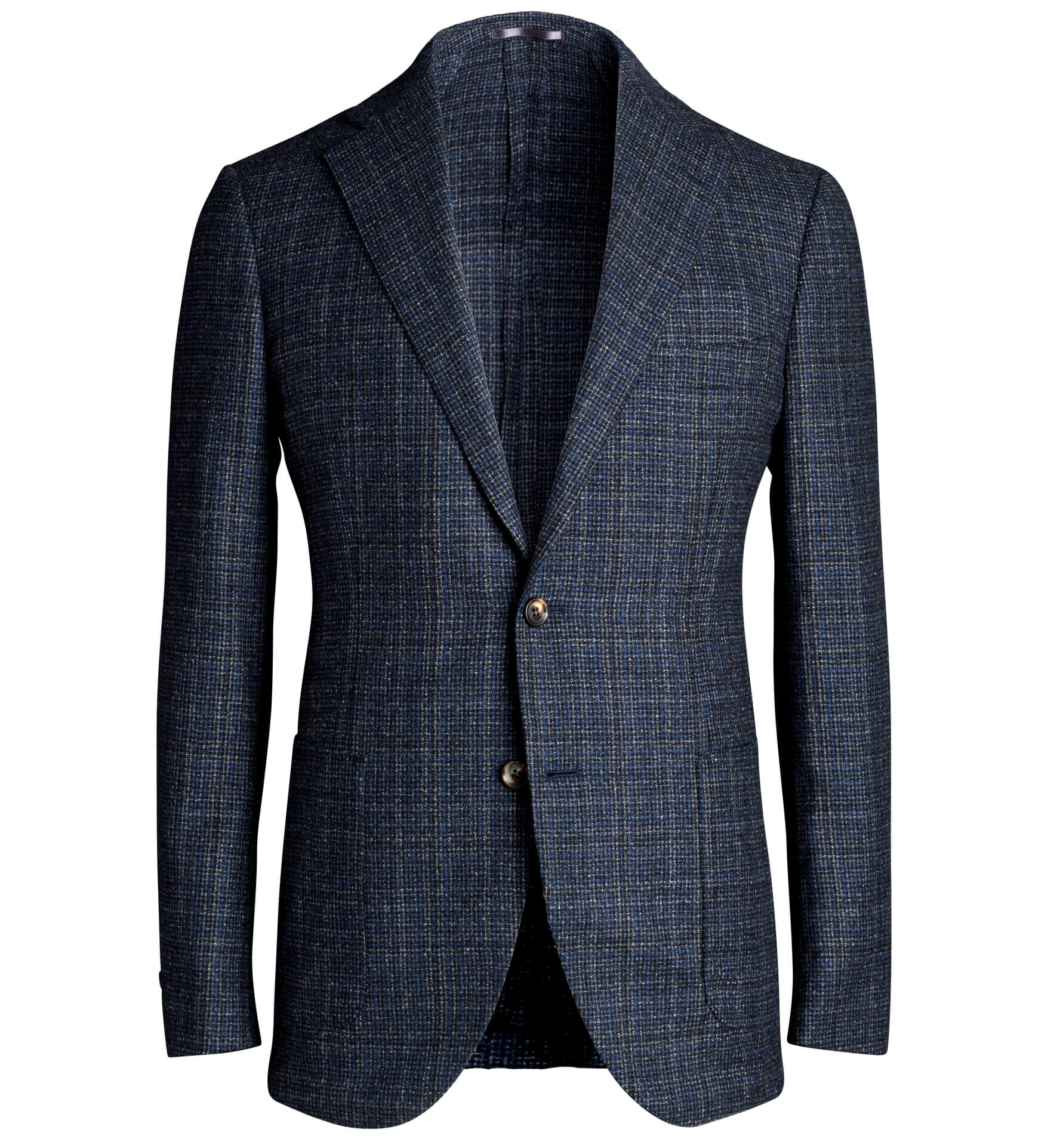 Zoom Image of Bedford Navy and Charcoal Check Wool Jacket
